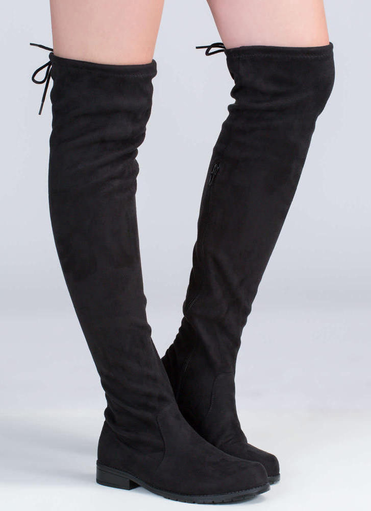 City Strut Faux Suede Boots BLACK