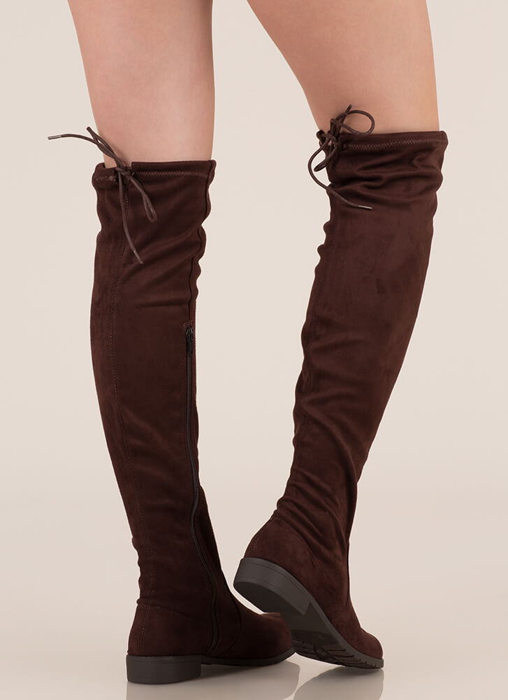 City Strut Faux Suede Boots BROWN