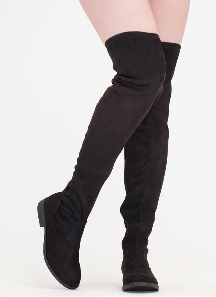 Over-The-Knee 'N Out Faux Suede Boots BLACK