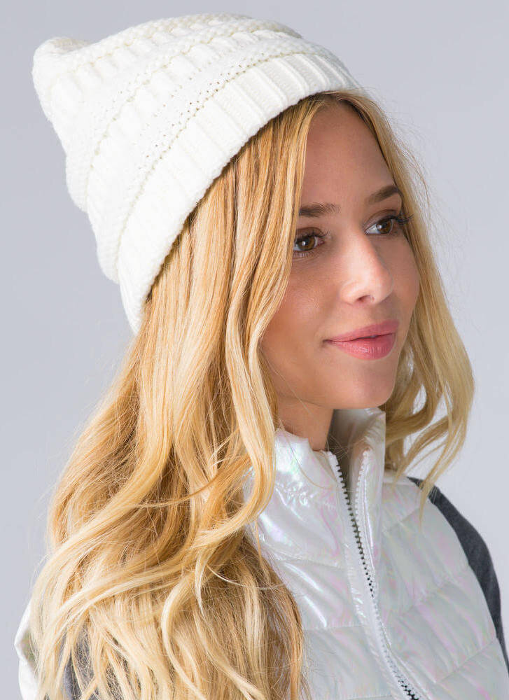Best Hair Day Cable Knit Beanie BEIGE