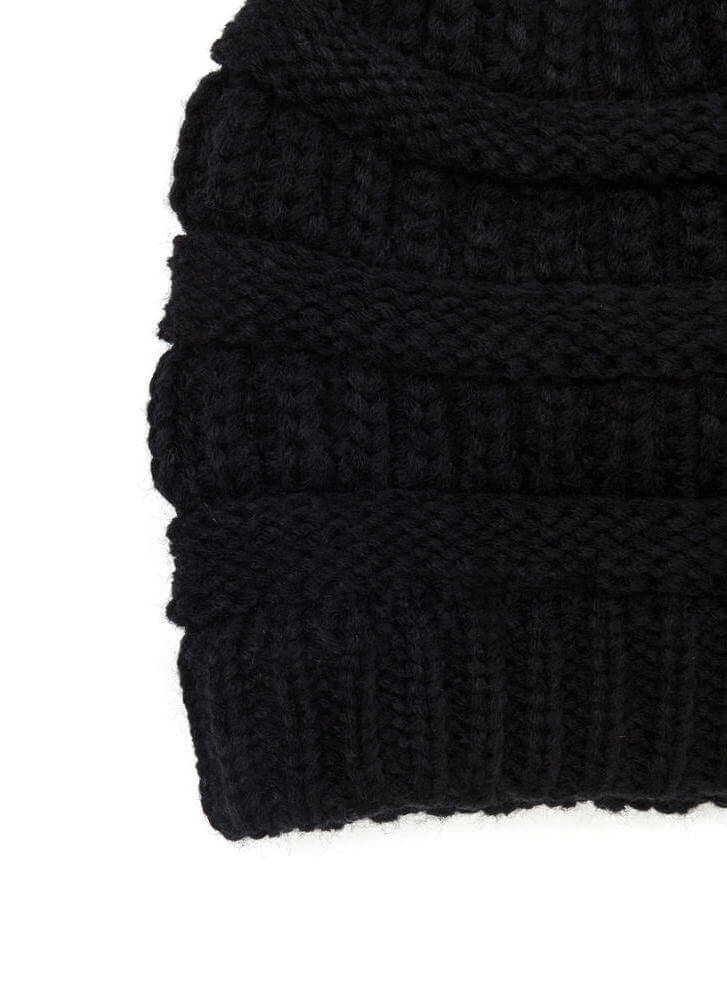 Best Hair Day Cable Knit Beanie BLACK