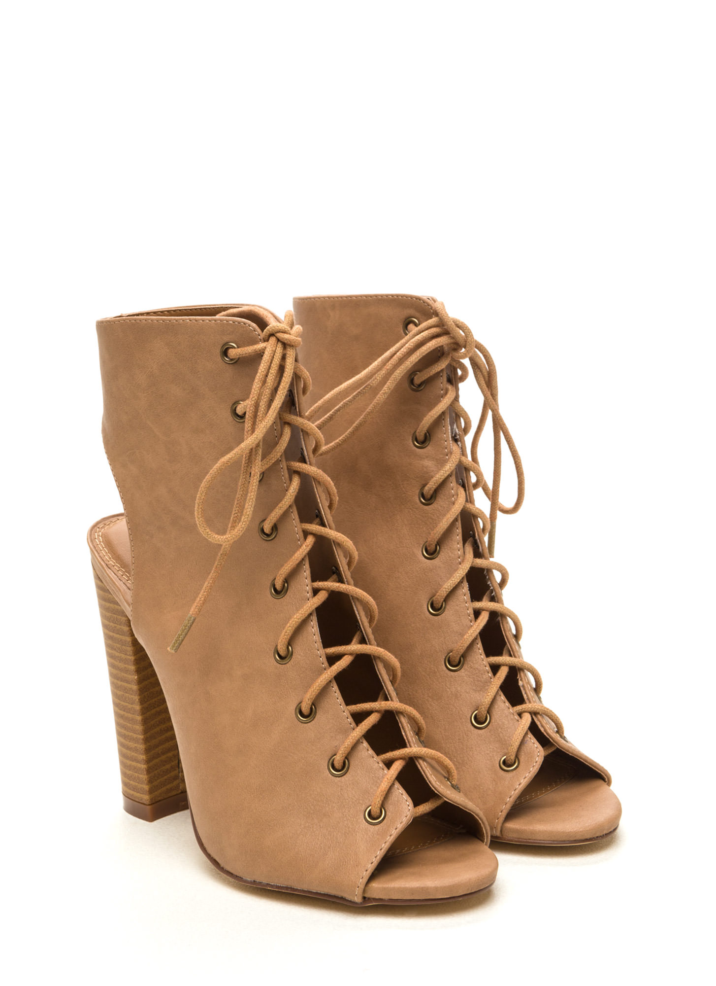Back It Up Laced Cut-Out Booties BEIGE