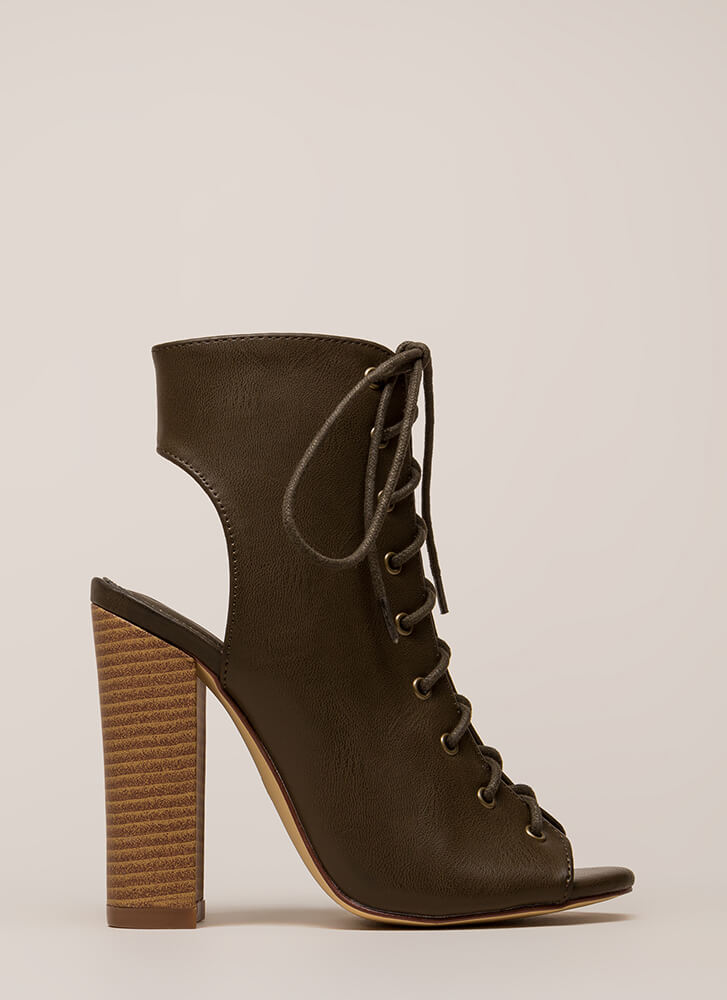 Back It Up Laced Cut-Out Booties OLIVE
