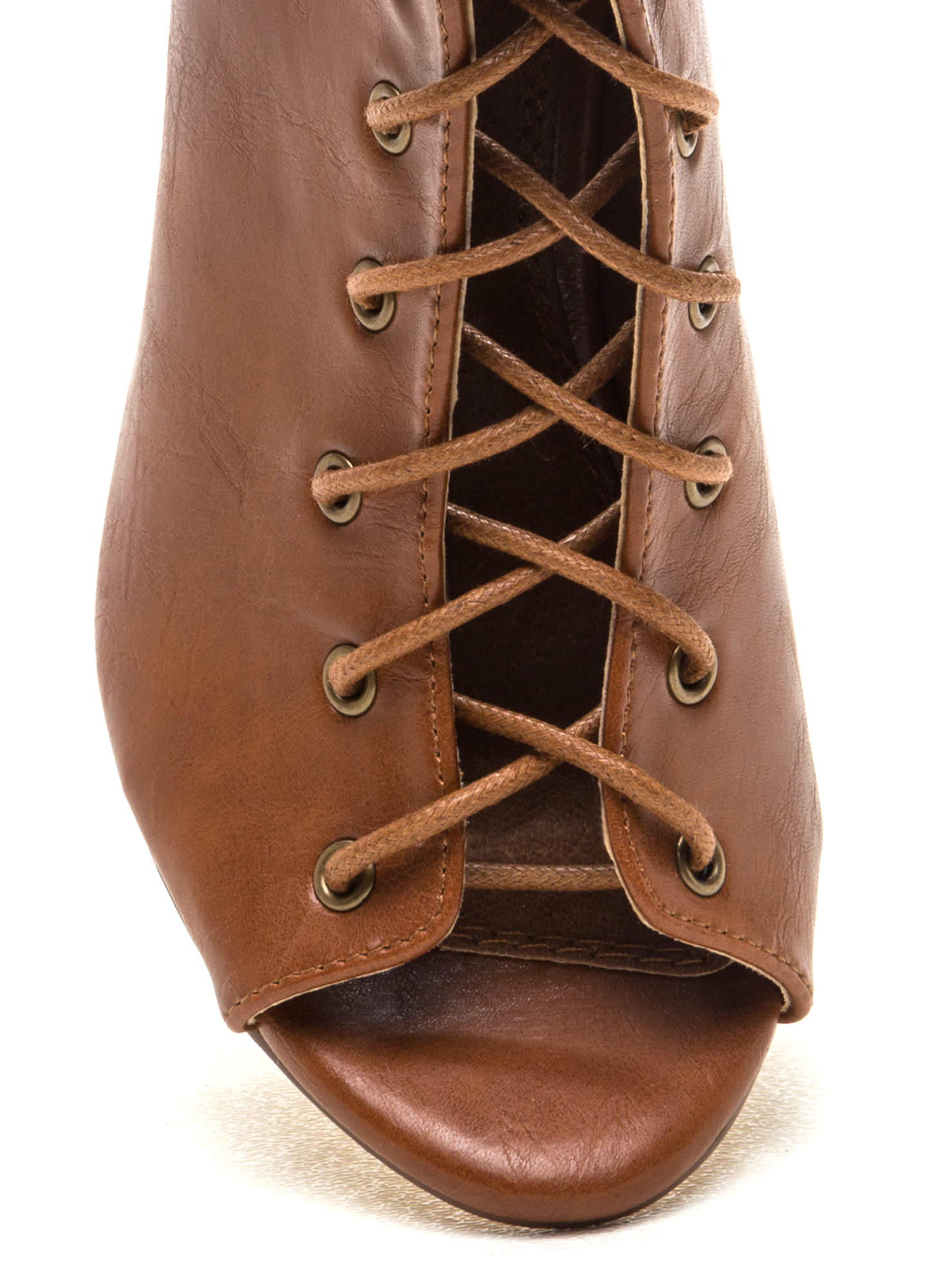 Back It Up Laced Cut-Out Booties TAN