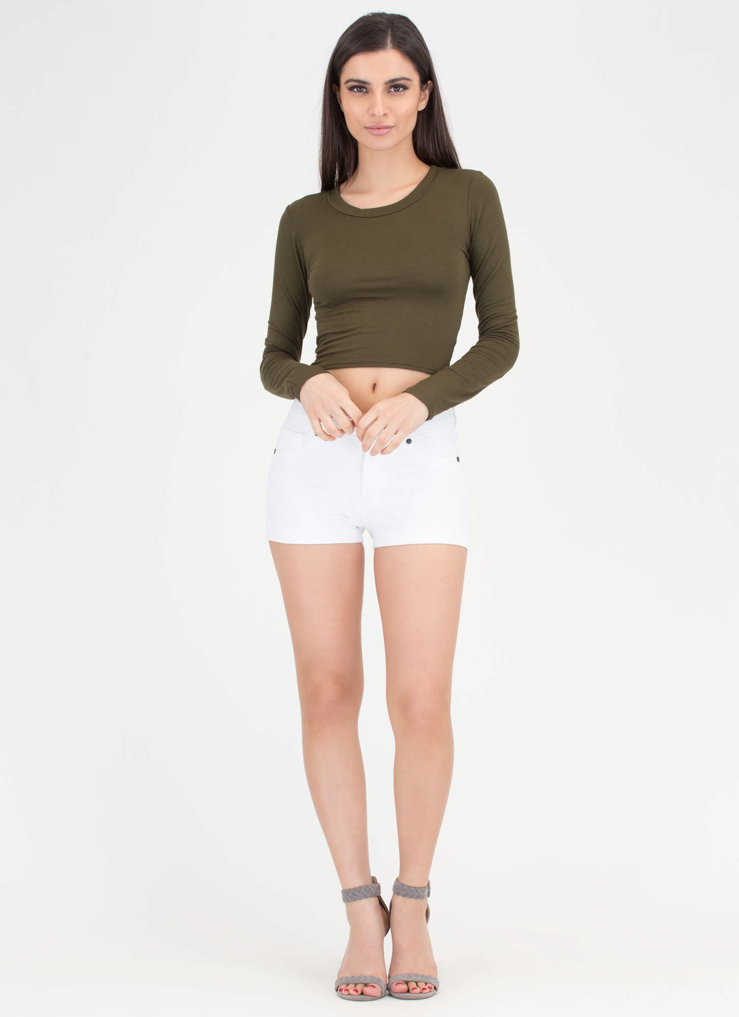 Not-So-Basic Long Sleeve Crop Top OLIVE