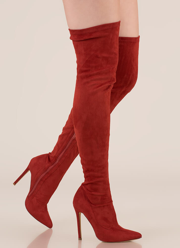 Long Story Chic Thigh-High Boots CINNAMON
