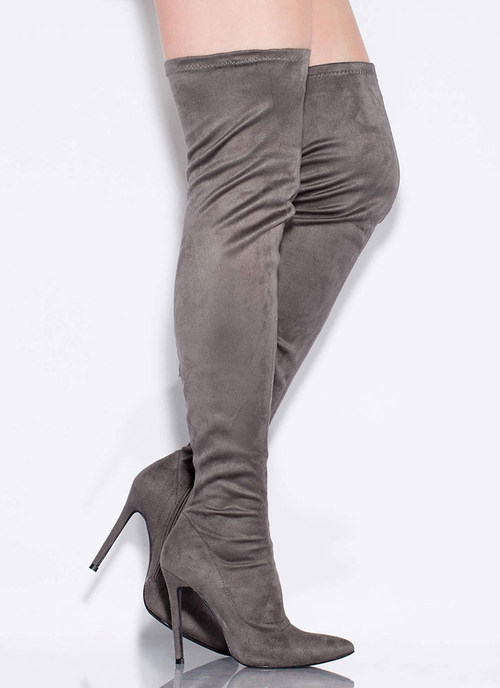 Long Story Chic Thigh-High Boots GREY