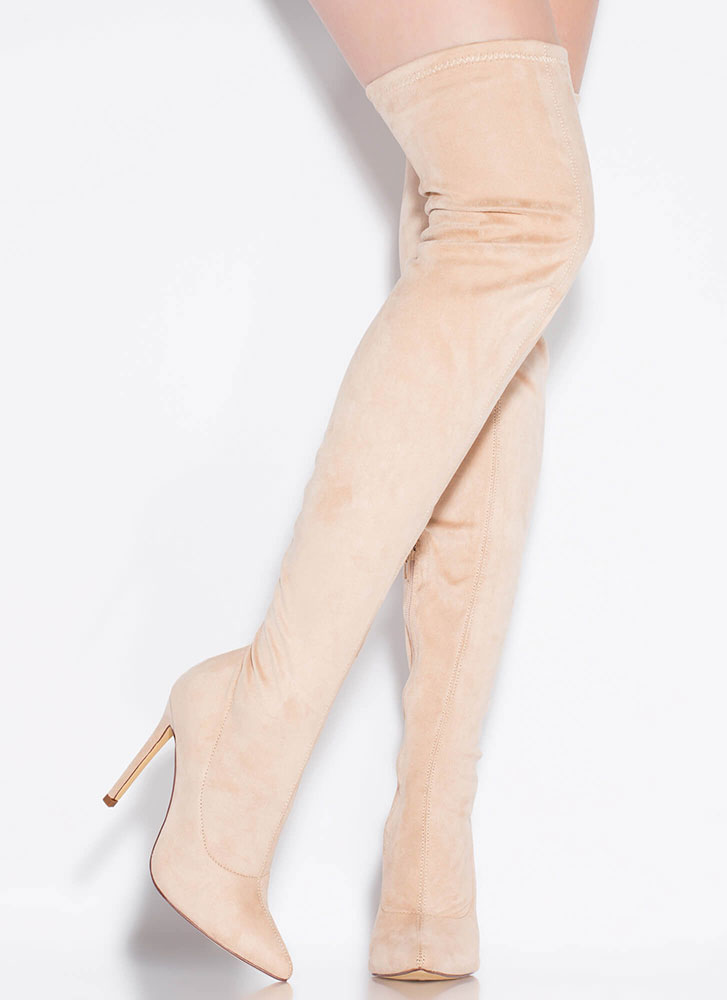 Long Story Chic Thigh-High Boots NUDE