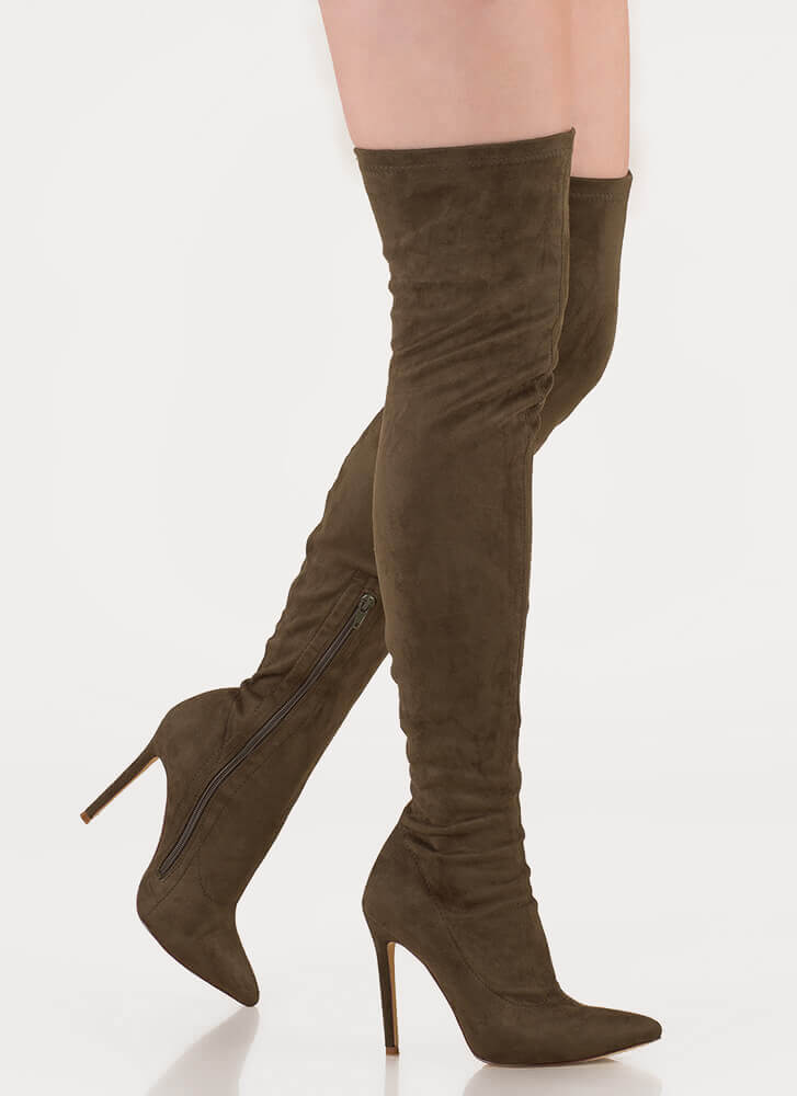 95e1b72d0d3 Long Story Chic Thigh-High Boots OLIVE GREY MAROON MAUVE TAUPE WHITE ...