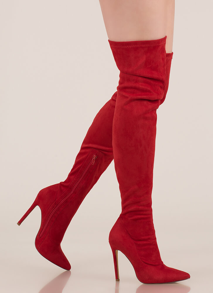 Long Story Chic Thigh-High Boots RED