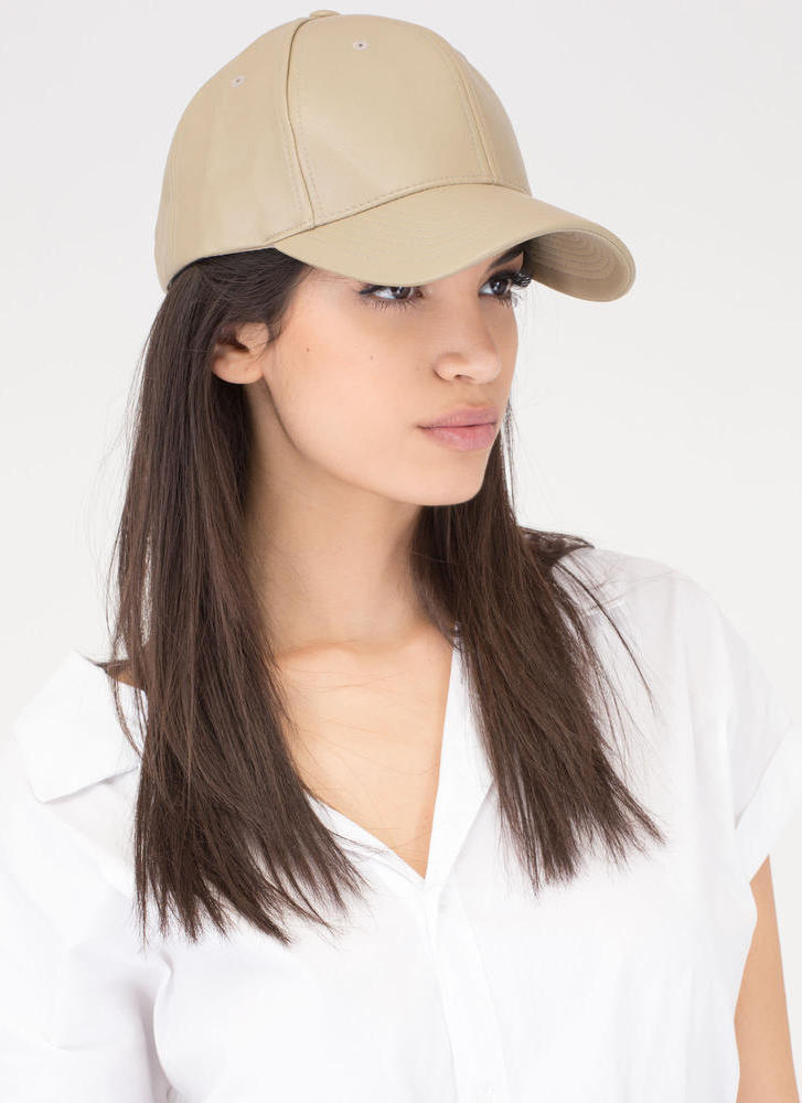 Even Better On Faux Leather Cap TAUPE