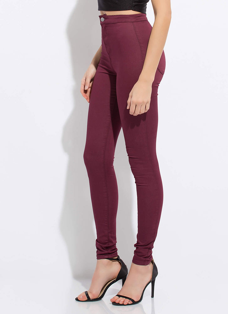 Poured Into My High-Waisted Jeggings BURGUNDY