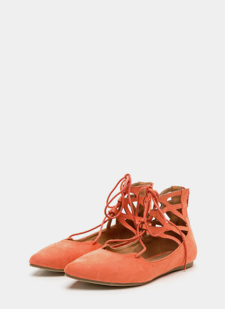 Point It Out Laced Faux Suede Flats CORAL