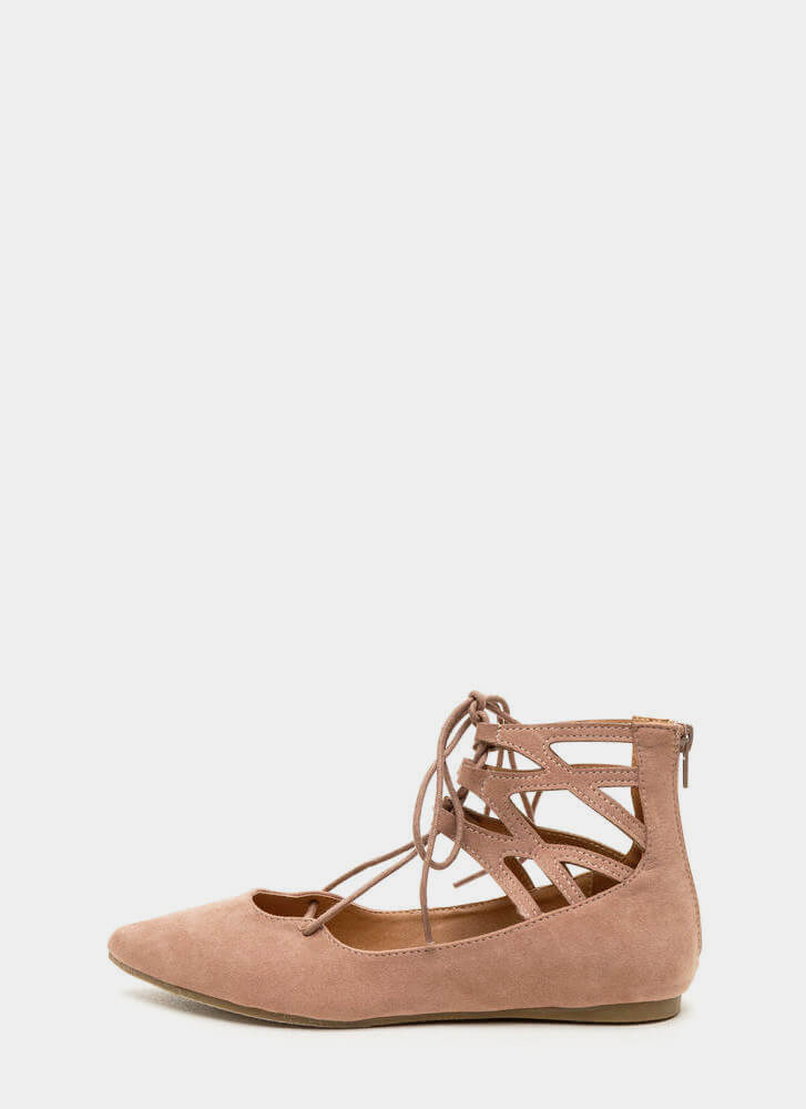Point It Out Laced Faux Suede Flats MAUVE