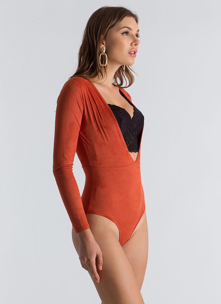 Softie Plunging Faux Suede Bodysuit RUST