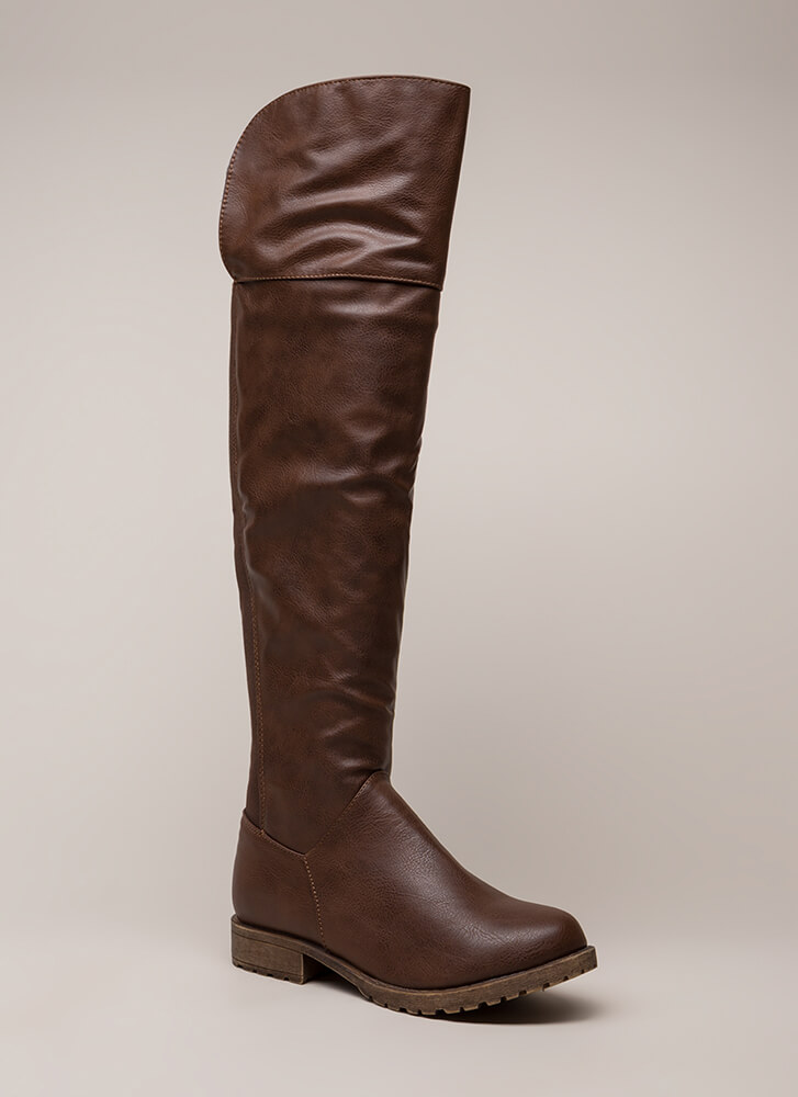 Ground Up Faux Leather Boots BROWN