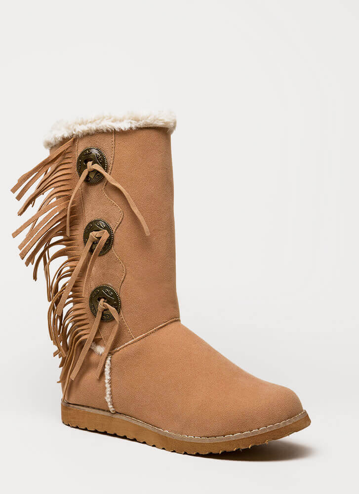 Fur Your Eyes Only Faux Leather Boots BEIGE