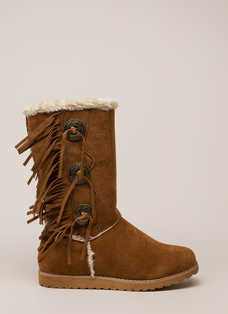 Fur Your Eyes Only Faux Leather Boots COGNAC