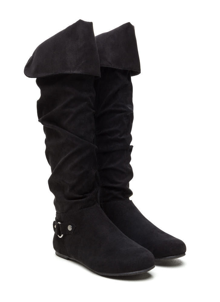 Cuff Love Slouchy Faux Suede Boots BLACK