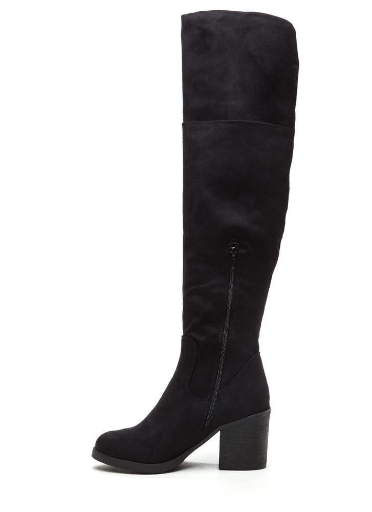 Notch Above Chunky Faux Suede Boots BLACK