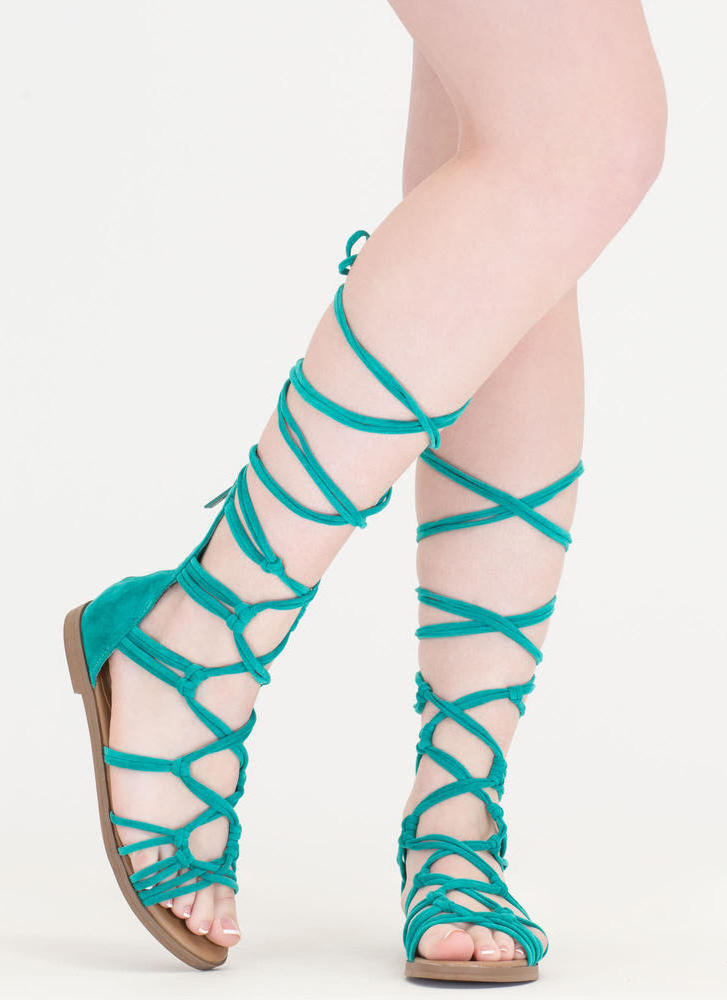 Knotty By Nature Gladiator Sandals AQUA