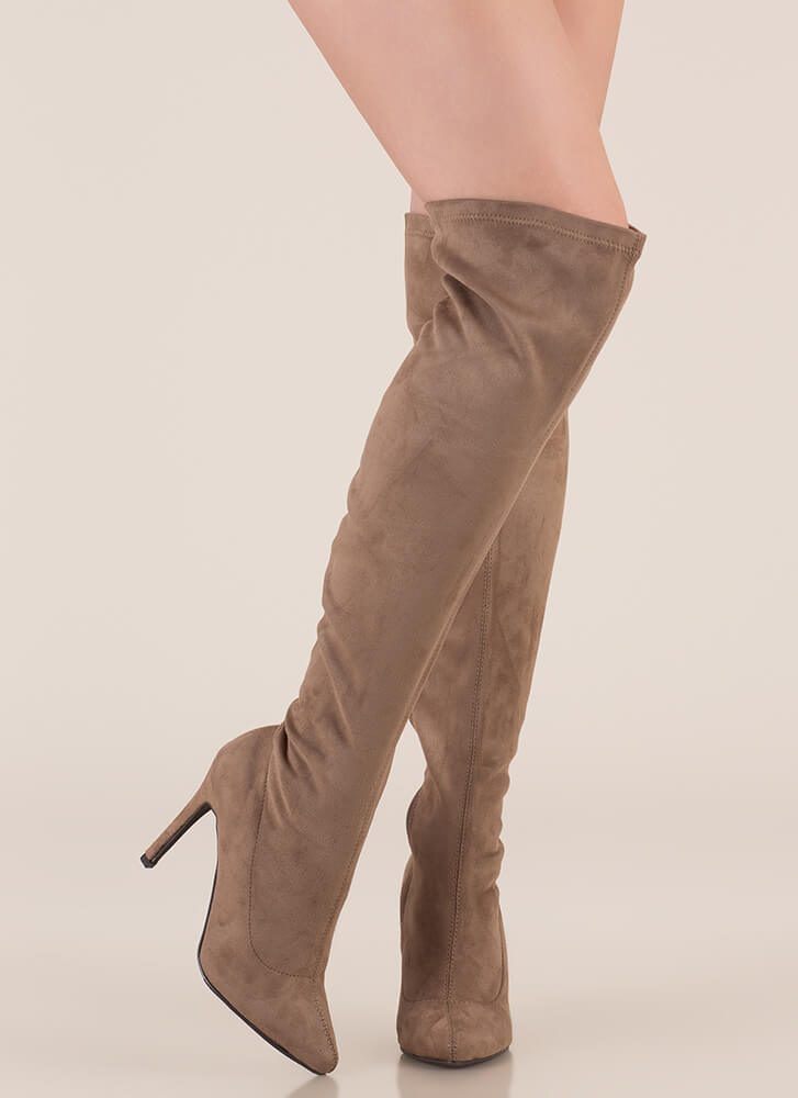 Smooth Trip Over-The-Knee Boots TAUPE (You Saved $32)