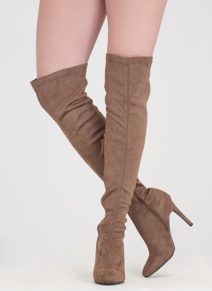Smooth Trip Over-The-Knee Boots TAUPE