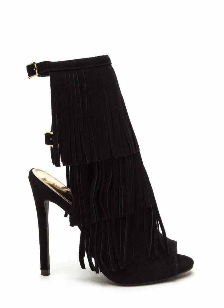 Fringe Frenzy Faux Suede Booties BLACK