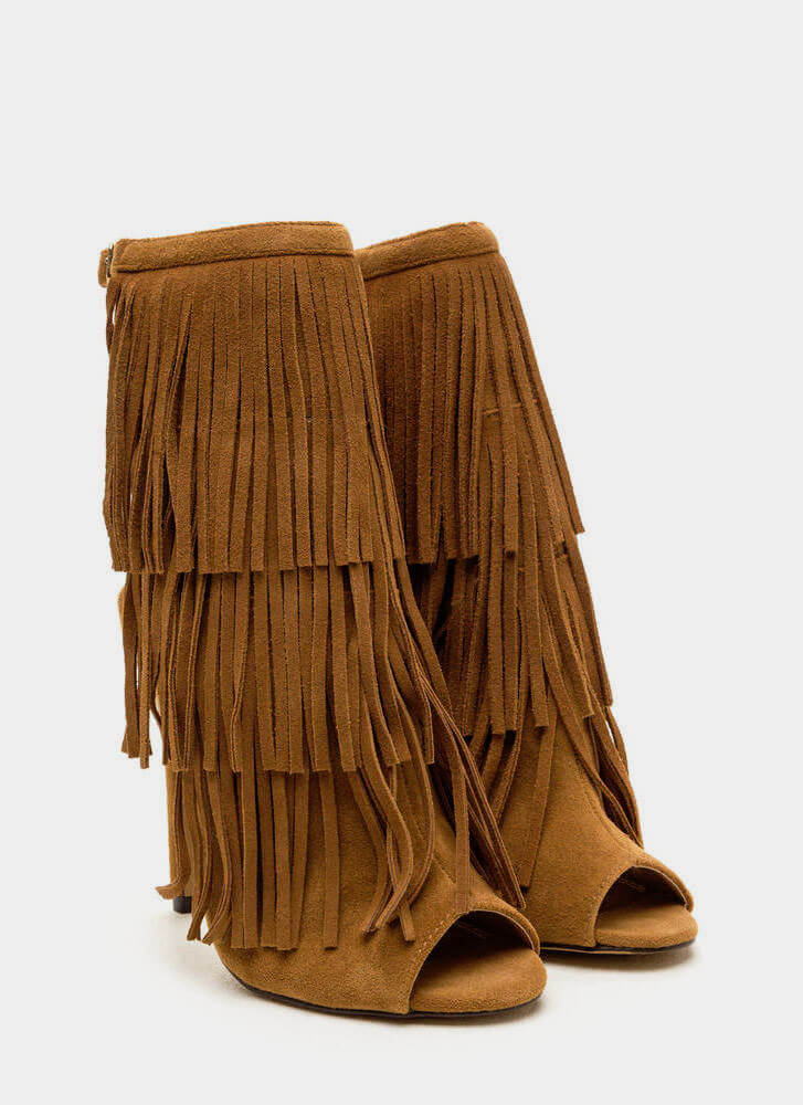 Fringe Frenzy Faux Suede Booties CAMEL (Final Sale)