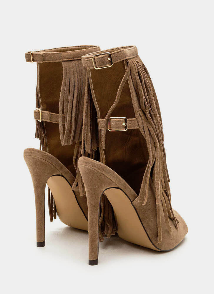 Fringe Frenzy Tiered Faux Suede Heels TAUPE (Final Sale)