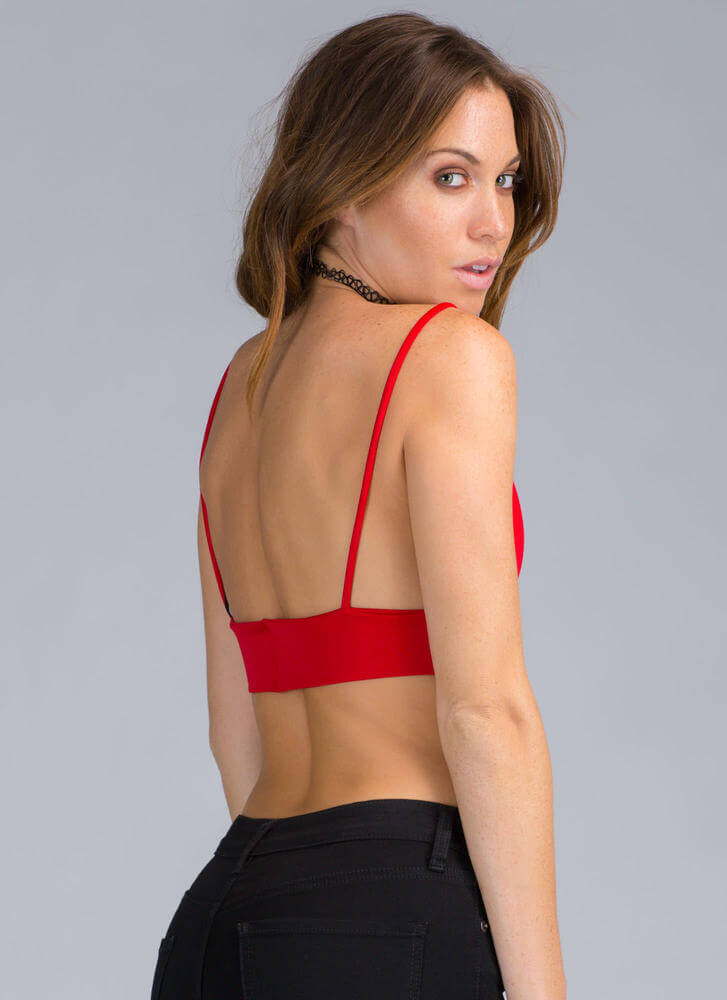 Assets On Display Strappy Bustier Top RED