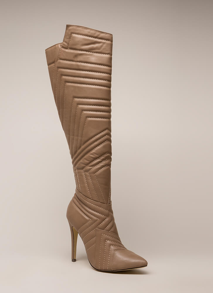 Quilted Wonder Faux Leather Boots TAUPE