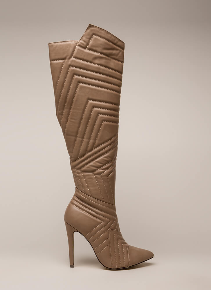 Quilted Wonder Faux Leather Boots TAUPE (Final Sale)