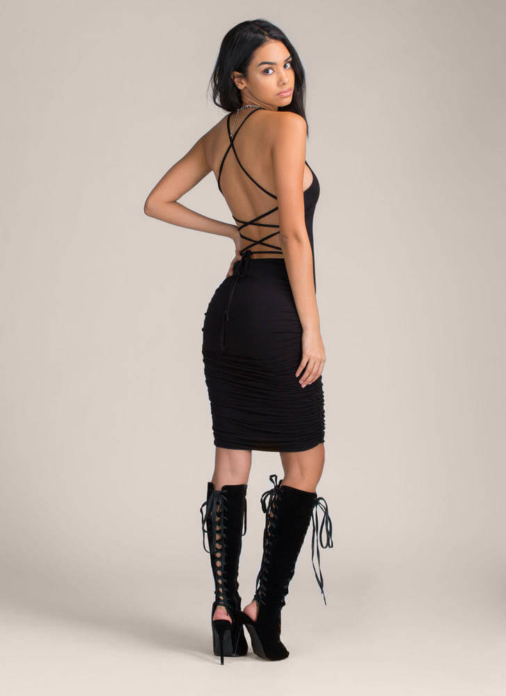 Curvy Display Lace-Up Midi Dress BLACK