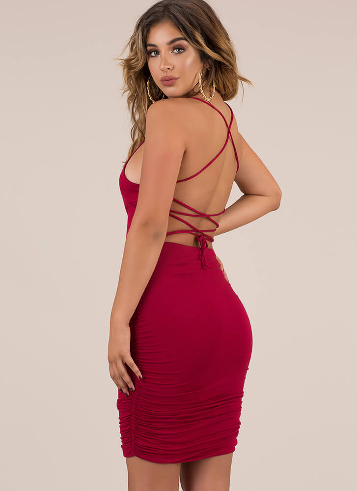 Curvy Display Lace-Up Midi Dress BURGUNDY