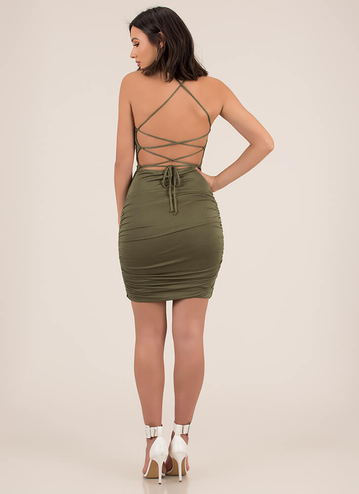 Curvy Display Lace-Up Midi Dress OLIVE