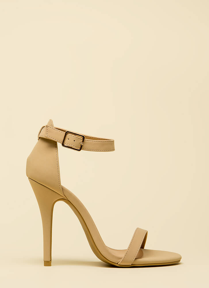 Ready To Single Strap Faux Nubuck Heels NUDE