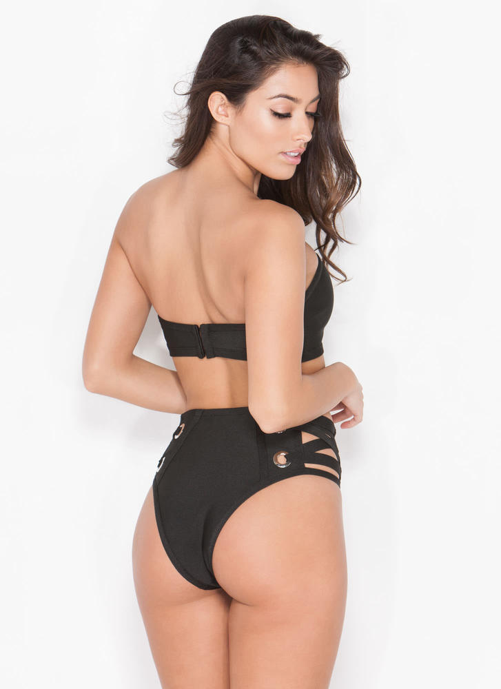 Tied Down Bandage Bikini Set BLACK (Final Sale)
