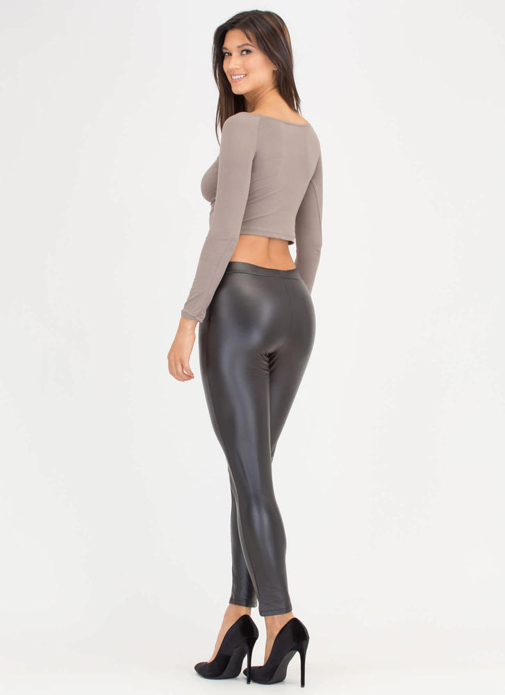 Give Two Zips Faux Leather Pants BLACK