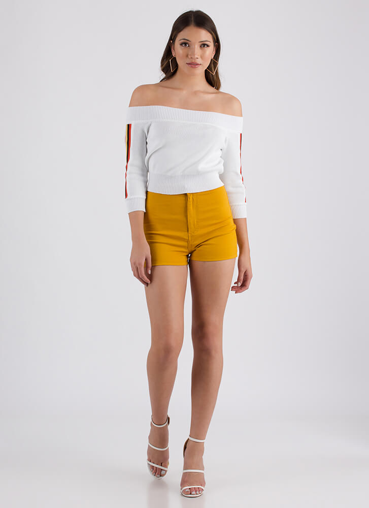 On A High-Waisted Shorts MUSTARD
