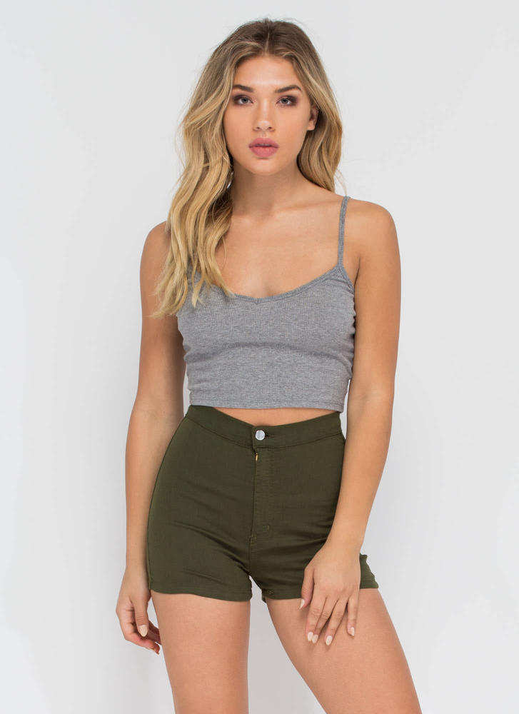 On A High-Waisted Shorts OLIVE