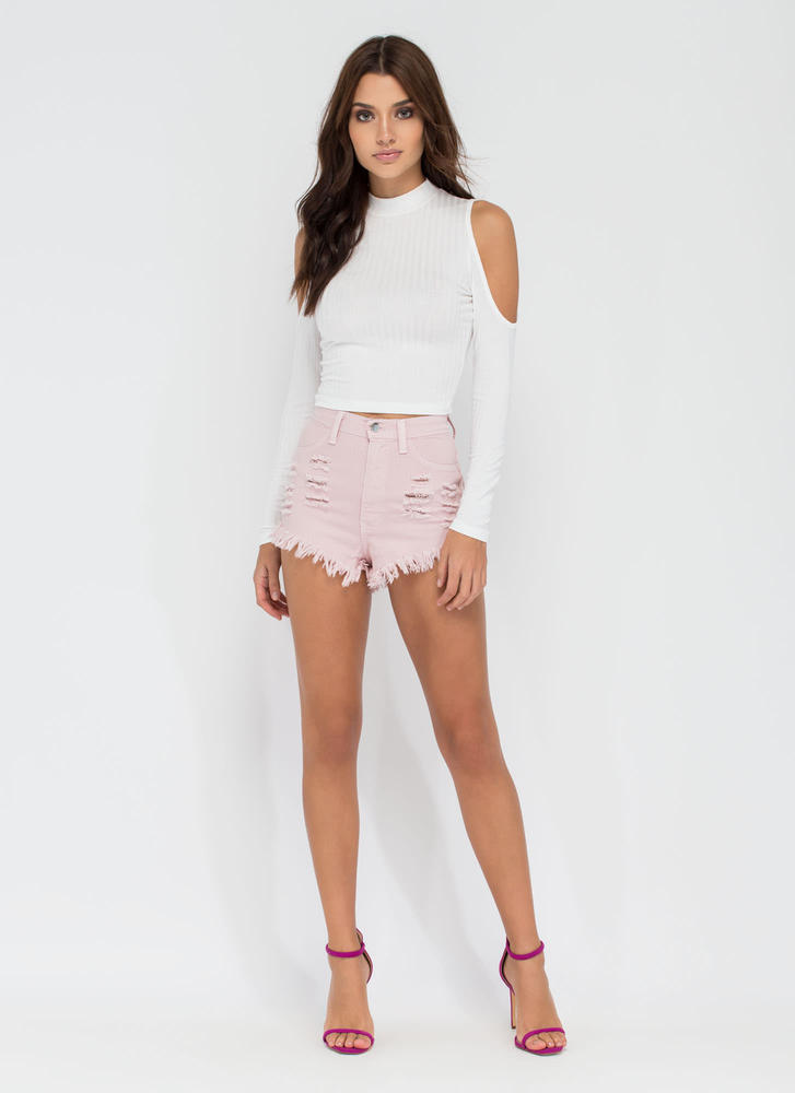 High 'N Bye Denim Shorts BLUSH