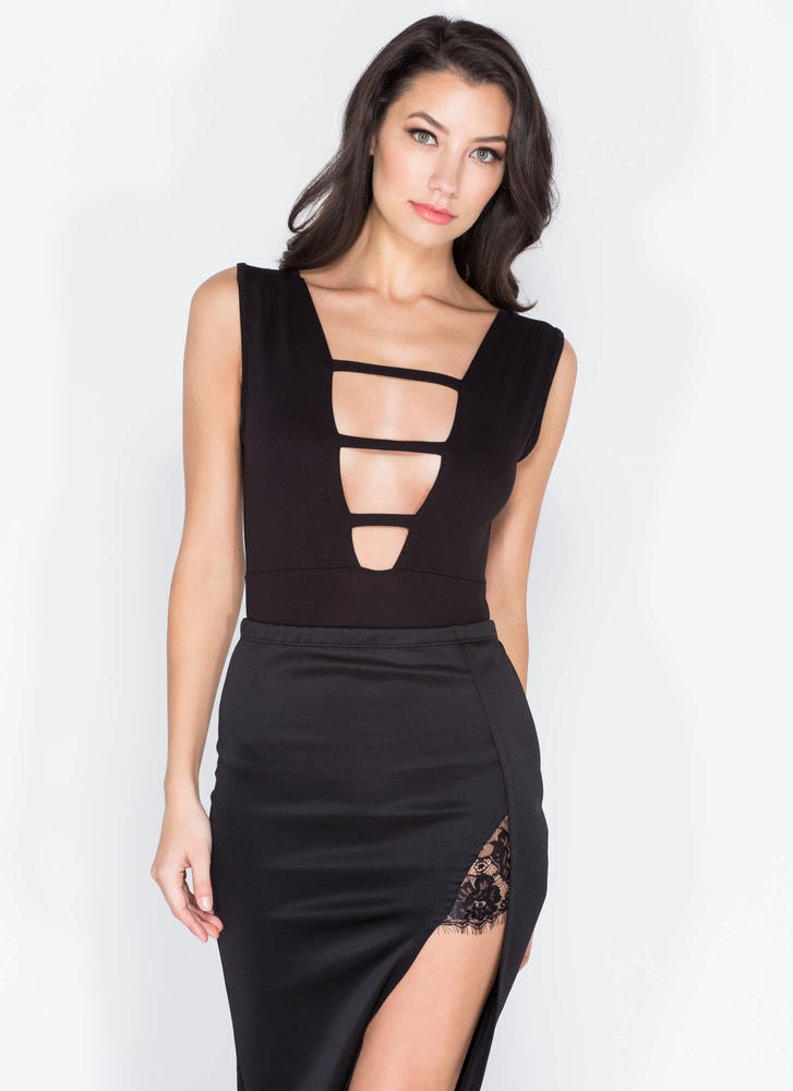On The Rung Track Strappy Bodysuit BLACK
