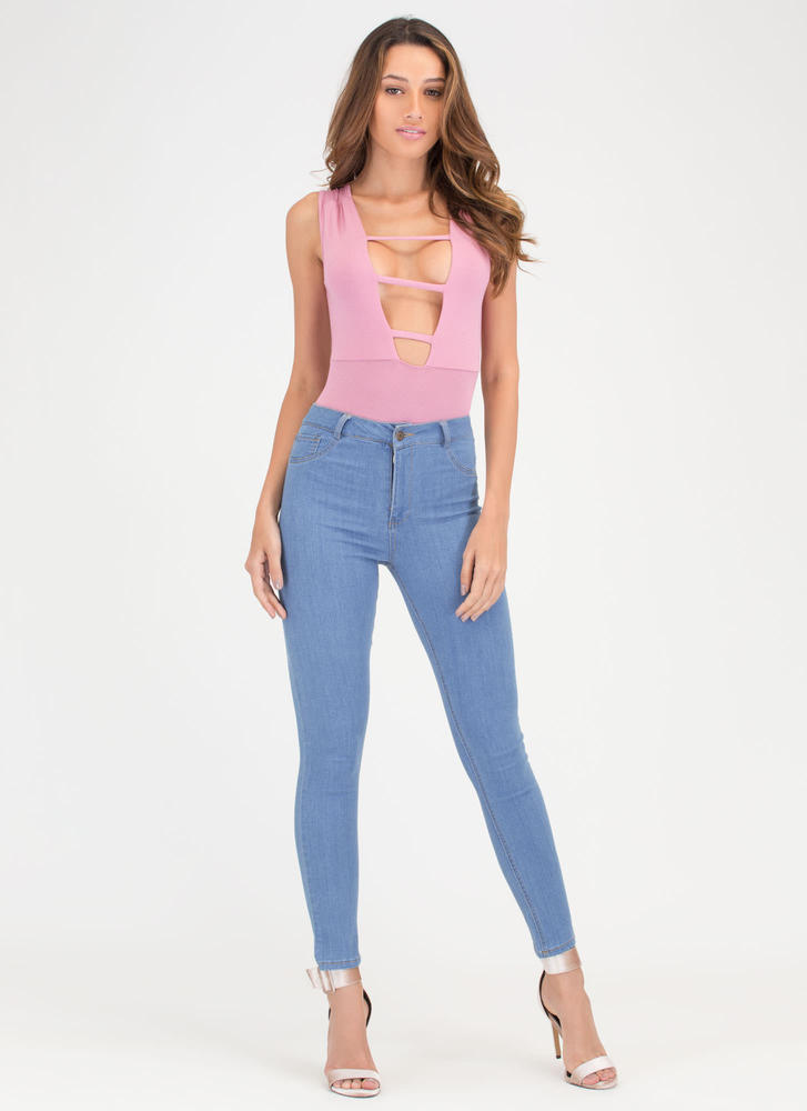 On The Rung Track Strappy Bodysuit MAUVE (Final Sale)