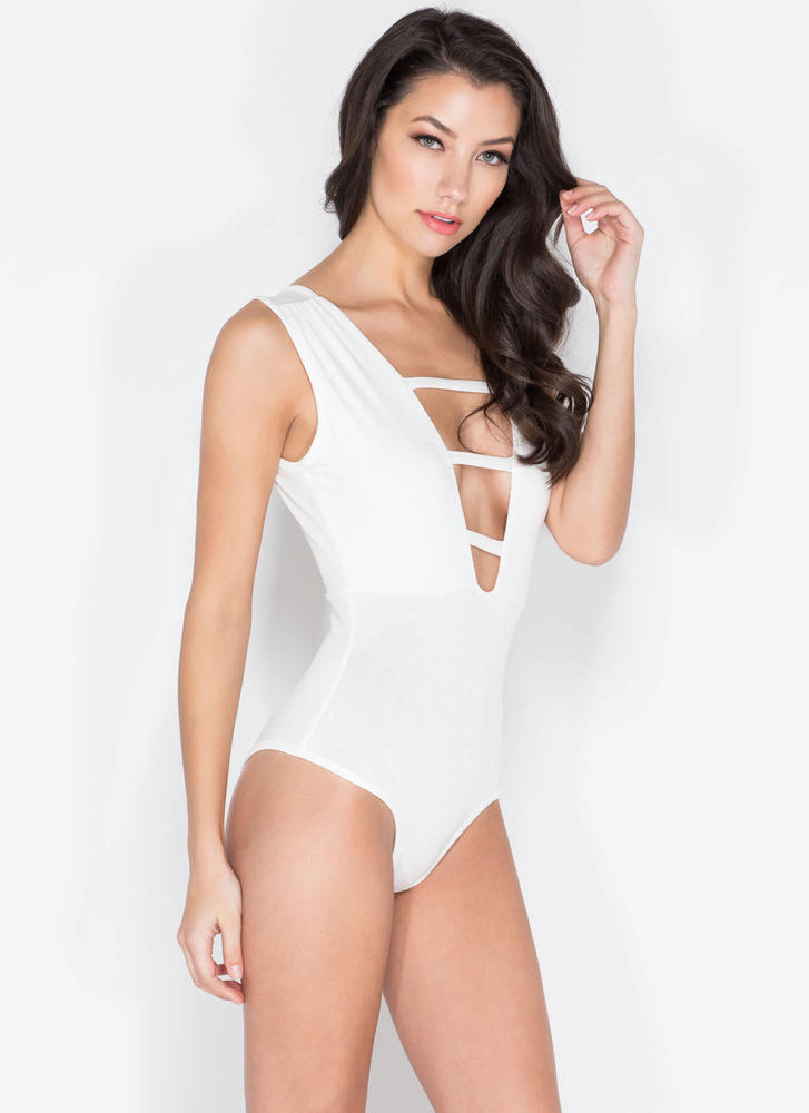 On The Rung Track Strappy Bodysuit WHITE