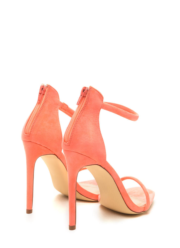 Just One Faux Suede Ankle Strap Heels NEONCORAL