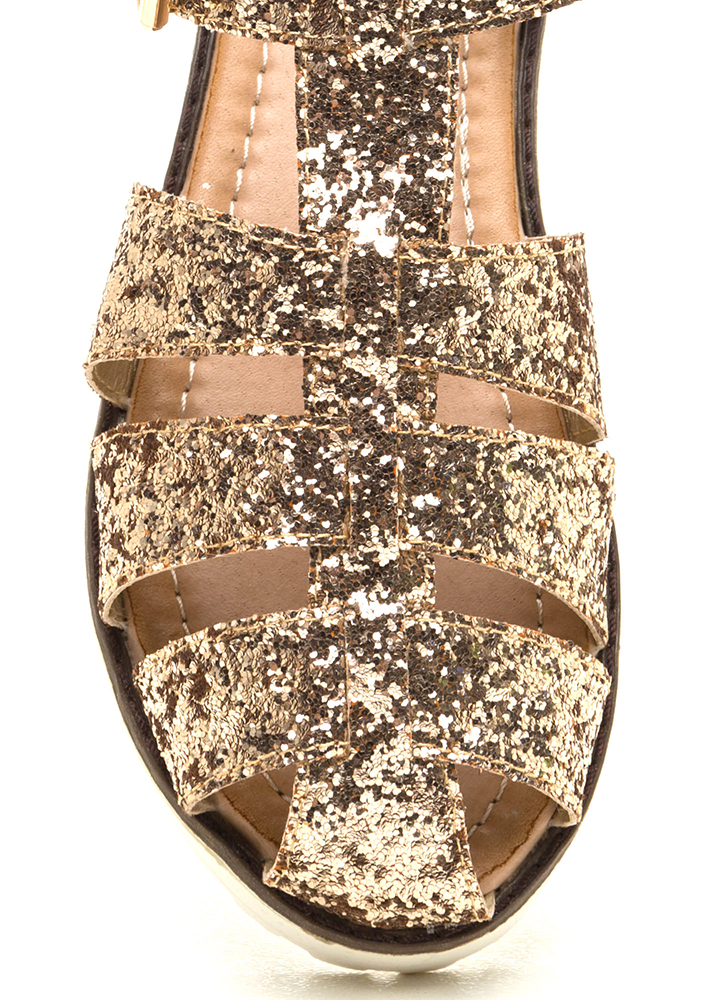 Glitzy Gal Flatform Sandals GOLD (Final Sale)