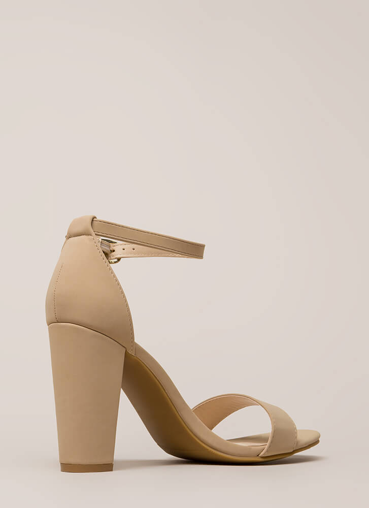 All's Fair In Fashion Faux Nubuck Heels NUDE