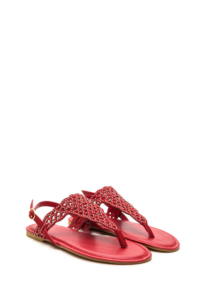 Elegant Flair Faux Nubuck Sandals RED