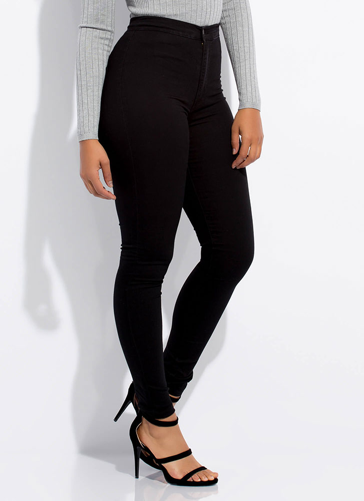 Feel The High-Waisted Skinny Jeans BLACK